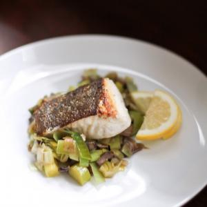 Crispy Halibut With Sautéed Leeks & Mushrooms